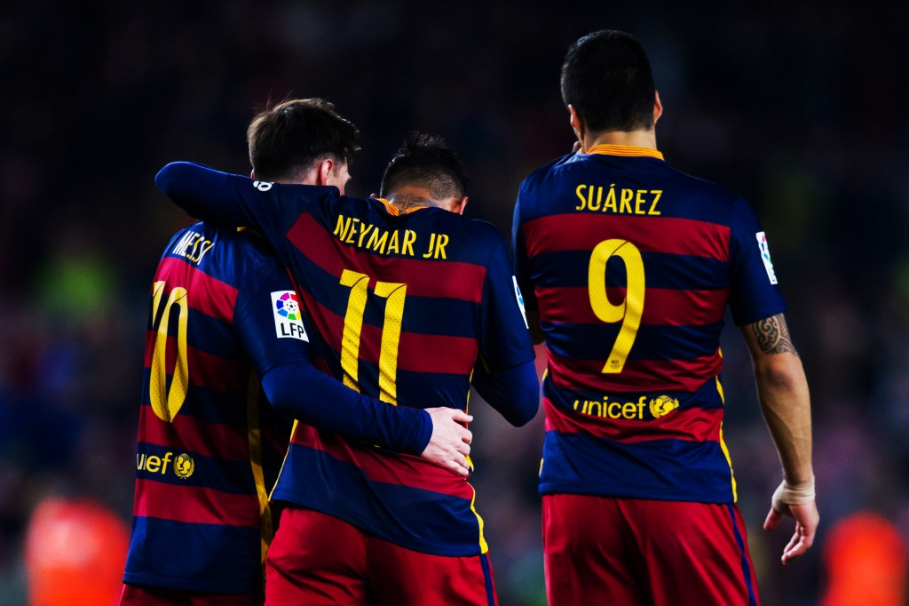 BARCELONA, SPAIN - APRIL 23: Neymar Santos Jr of FC Barcelona is congratulated by his teammates Luis Suarez and Lionel Messi after scoring his team's fifth goal during the La Liga match between FC Barcelona and Sporting Gijon at Camp Nou on April 23, 2016 in Barcelona, Spain. (Photo by Alex Caparros/Getty Images)