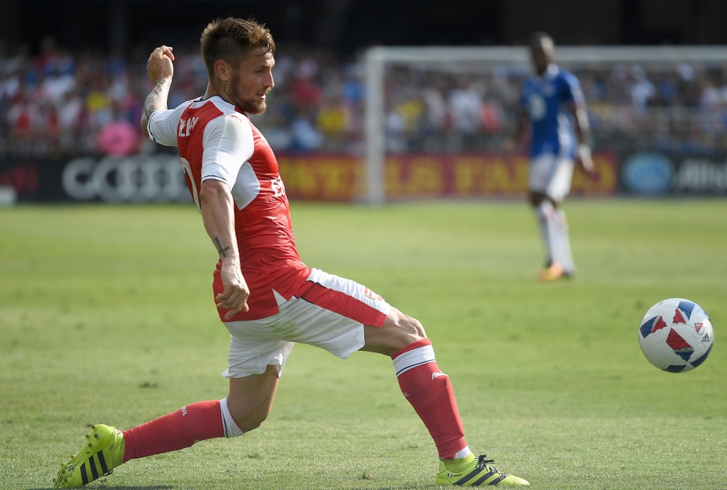 SAN JOSE, CA - JULY 28: Mathieu Debuchy #2 of Arsenal FC passes the ball against the MLS All-Stars during the second half of the AT&T MLS All-Star Game at Avaya Stadium on July 28, 2016 in San Jose, California. (Photo by Thearon W. Henderson/Getty Images)