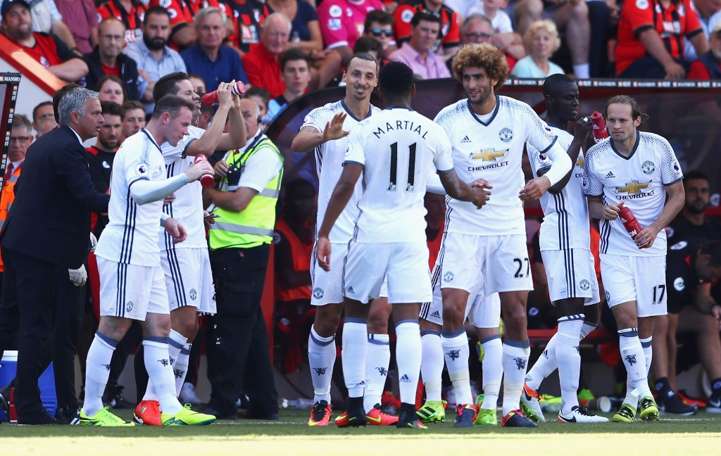BOURNEMOUTH, ENGLAND - AUGUST 14: Zlatan Ibrahimovic of Manchester United celebrates scoring his team's third goal with team mates and manager Jose Mourinho during the Premier League match between AFC Bournemouth and Manchester United at Vitality Stadium on August 14, 2016 in Bournemouth, England. (Photo by Michael Steele/Getty Images)