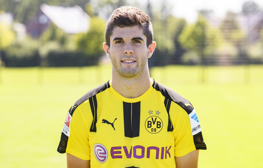 DORTMUND, GERMANY - AUGUST 17: Christian Pulisic poses during the team presentation of Borussia Dortmund on August 17, 2016 in Dortmund, Germany. (Photo by Alexander Scheuber/Bongarts/Getty Images)