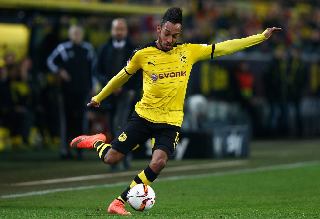 DORTMUND, GERMANY - MARCH 05: Pierre-Emerick Aubameyang of Borussia Dortmund in action during the Bundesliga match between Borussia Dortmund and FC Bayern Muenchen at Signal Iduna Park on March 5, 2016 in Dortmund, Germany. (Photo by Dean Mouhtaropoulos/Bongarts/Getty Images)