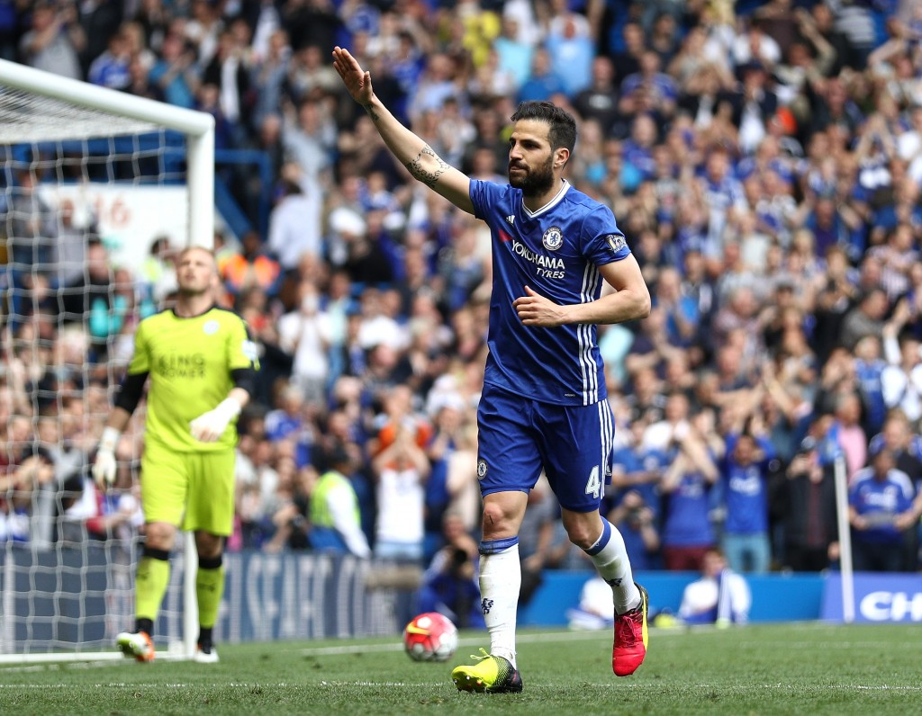 LONDON, ENGLAND - MAY 15: Sesc Fabregas of Chelsea celebrates scoring his team's first goal from the penalty spot during the Barclays Premier League match between Chelsea and Leicester City at Stamford Bridge on May 15, 2016 in London, England. (Photo by Paul Gilham/Getty Images)