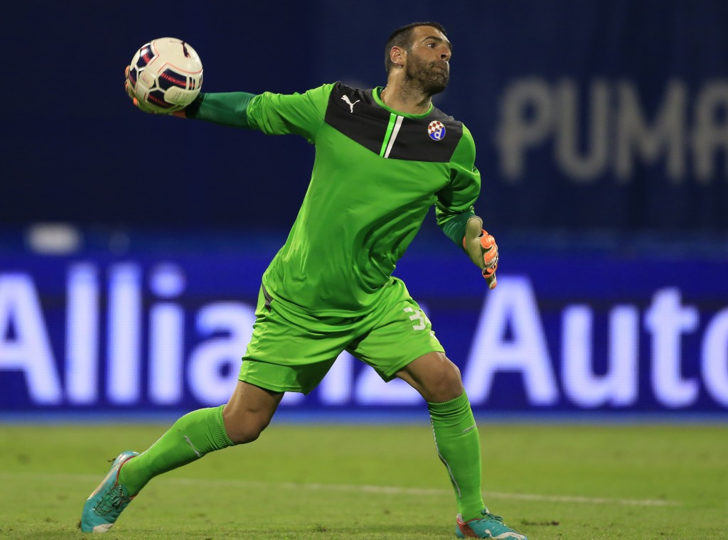 ZAGREB, CROATIA - JULY 28: Goalkeeper Eduardo of FC Dinamo Zagreb in action during the UEFA Champions League Third Qualifying Round 1st Leg match between FC Dinamo Zagreb and FC Molde at Maksimir stadium in Zagreb, Croatia on Tuesday, July 28, 2015. (Photo by Srdjan Stevanovic/Getty Images)