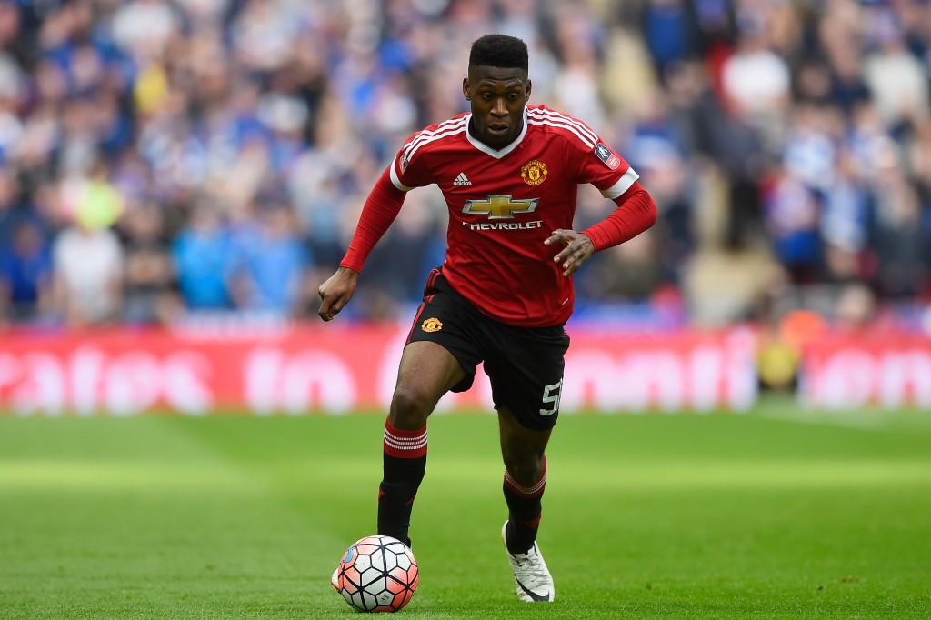LONDON, ENGLAND - APRIL 23: Timothy Fosu-Mensah of Manchester United in action during the Emirates FA Cup Semi Final between Everton and Manchester United at Wembley Stadium on April 23, 2016 in London, England. (Photo by Mike Hewitt/Getty Images)
