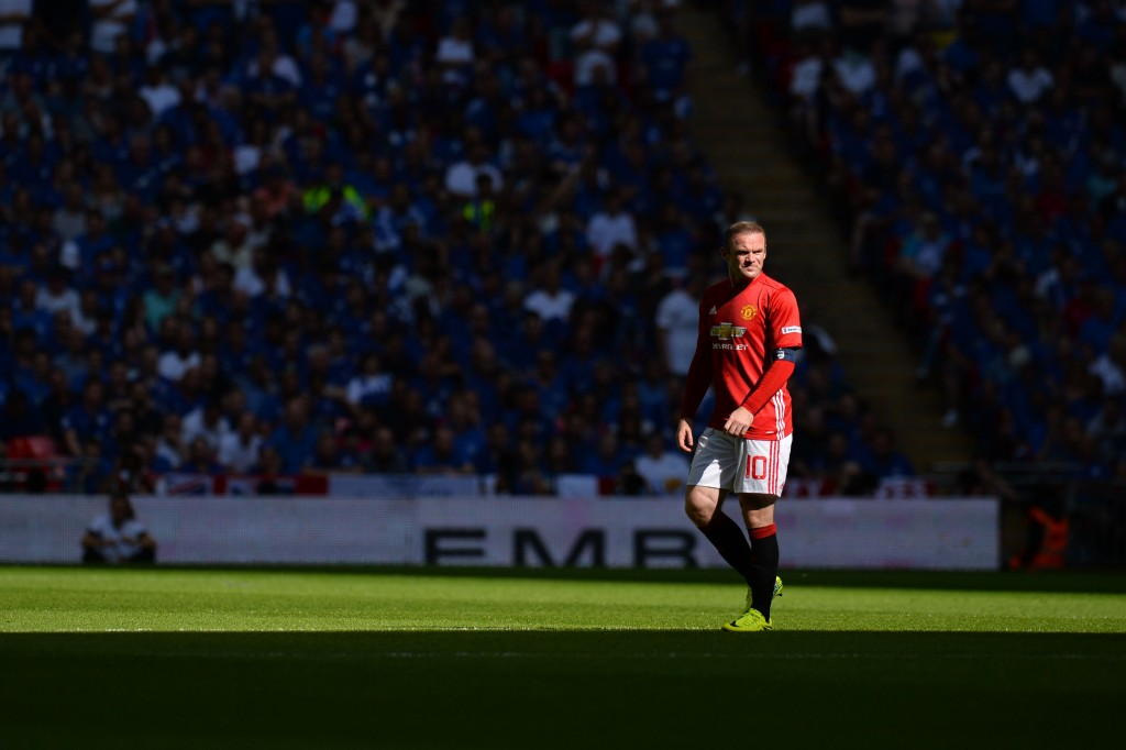 Manchester United's English striker Wayne Rooney plays during the FA Community Shield football match between Manchester United and Leicester City at Wembley Stadium in London on August 7, 2016. / AFP / GLYN KIRK / NOT FOR MARKETING OR ADVERTISING USE / RESTRICTED TO EDITORIAL USE (Photo credit should read GLYN KIRK/AFP/Getty Images)