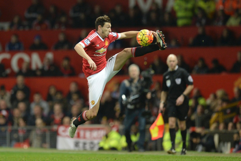Manchester United's Italian defender Matteo Darmian controls the ball during the English Premier League football match between Manchester United and Chelsea at Old Trafford in Manchester, north west England, on December 28, 2015. (Photo by Oli Scarff/AFP/Getty Images)