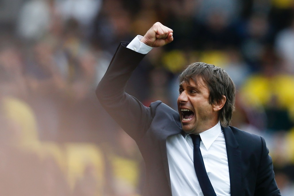 Chelsea's Italian head coach Antonio Conte reacts at the final whistle on the touchline during the English Premier League football match between Watford and Chelsea at Vicarage Road Stadium in Watford, north of London on August 20, 2016. (Photo Credit: Ian Kington/AFP/Getty Images)