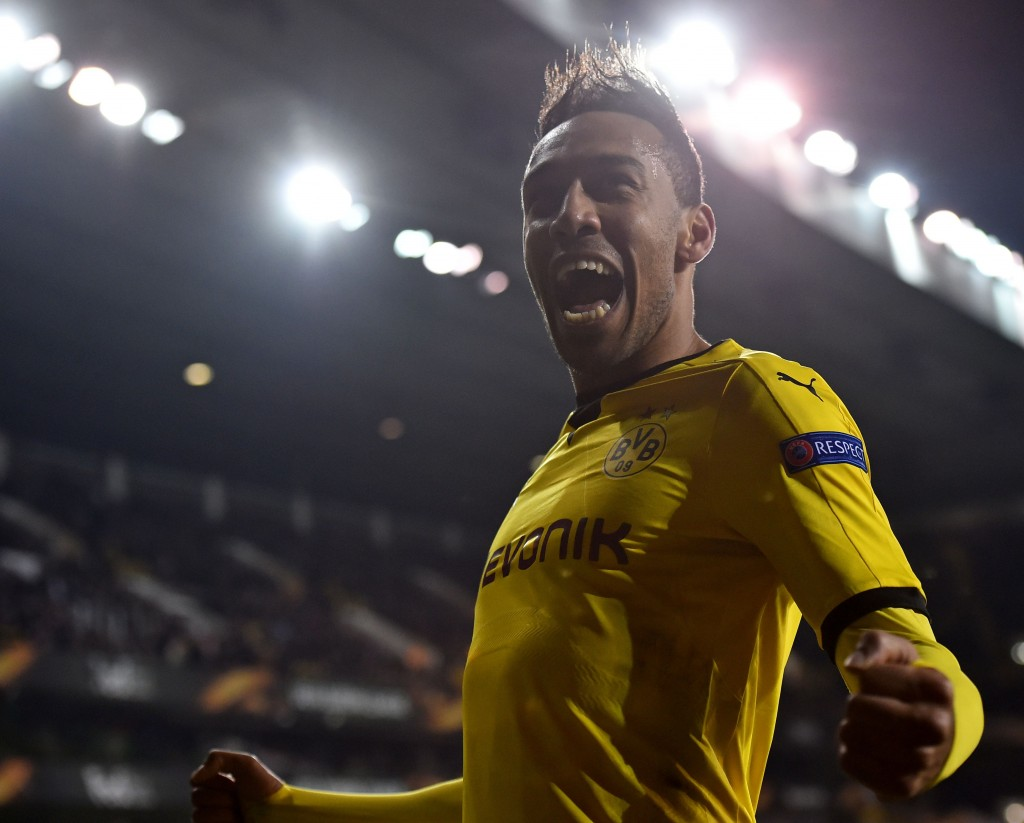 Borussia Dortmund's Gabonese striker Pierre-Emerick Aubameyang celebrates after scoring their second goal during the UEFA Europa League round of 16, second leg football match between Tottenham Hotspur and Borussia Dortmund at White Hart Lane in London on March 17, 2016. / AFP / Ben STANSALL (Photo credit should read BEN STANSALL/AFP/Getty Images)