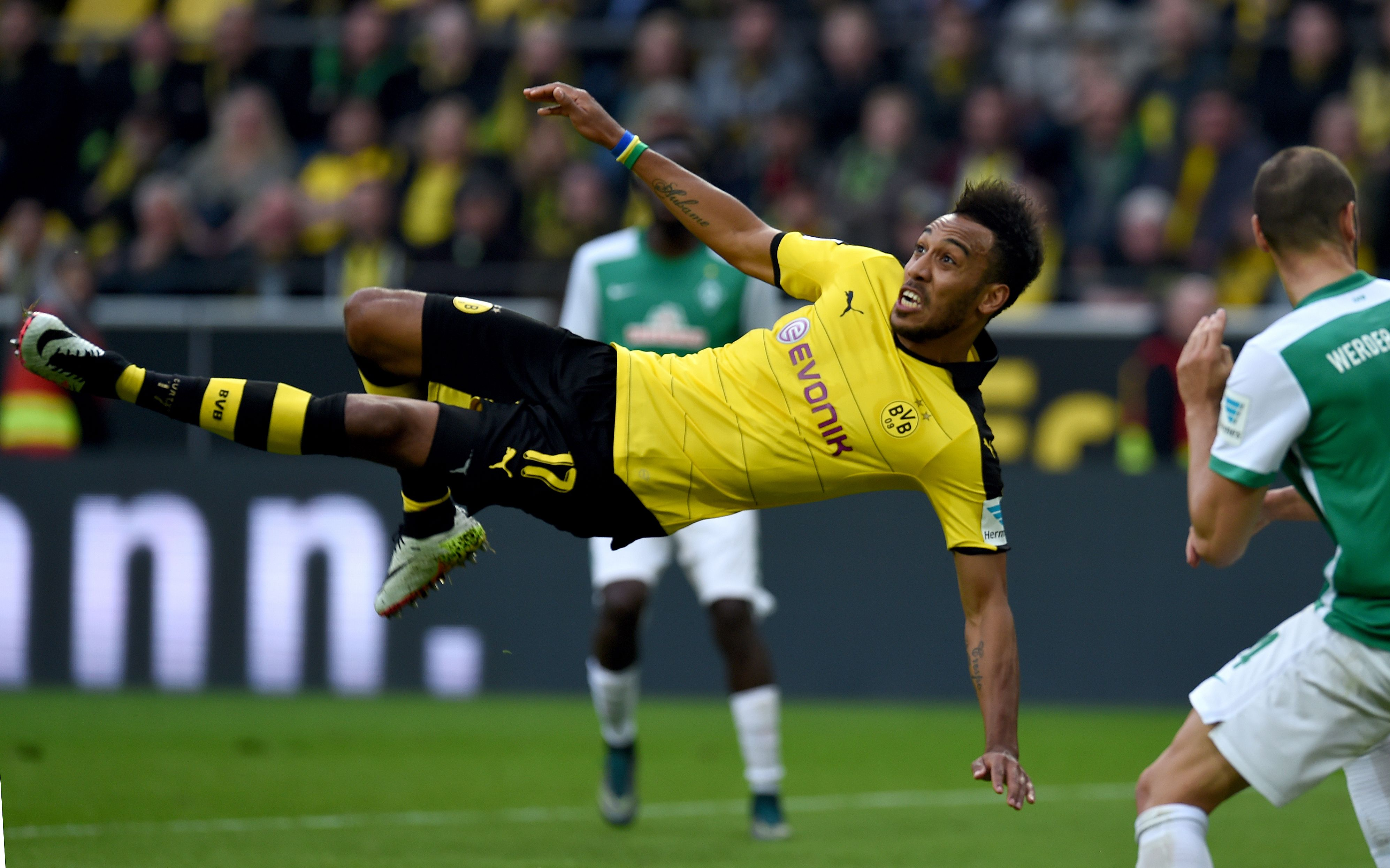 Dortmund's Gabonese striker Pierre-Emerick Aubameyang falls on the pitch as he plays the ball during the German Bundesliga first division football match between Borussia Dortmund and Werder Bremen in Dortmund, western Germany, on April 2, 2016. / AFP / PATRIK STOLLARZ / RESTRICTIONS: DURING MATCH TIME: DFL RULES TO LIMIT THE ONLINE USAGE TO 15 PICTURES PER MATCH AND FORBID IMAGE SEQUENCES TO SIMULATE VIDEO. == RESTRICTED TO EDITORIAL USE == FOR FURTHER QUERIES PLEASE CONTACT DFL DIRECTLY AT + 49 69 650050 (Photo credit should read PATRIK STOLLARZ/AFP/Getty Images)