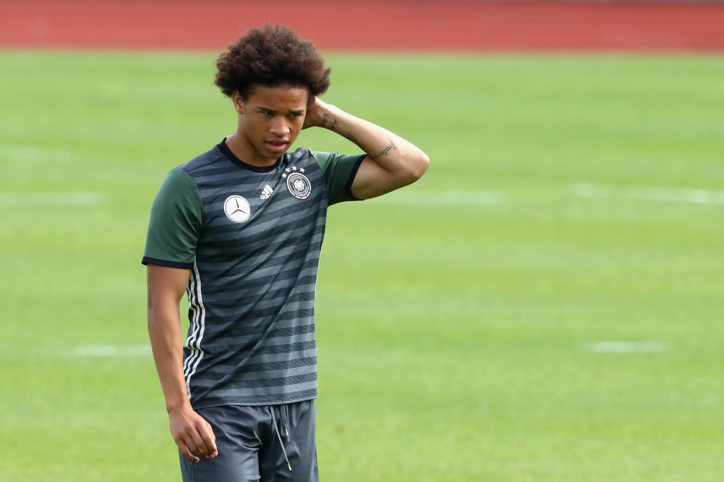 EVIAN-LES-BAINS, FRANCE - JULY 05: Leroy Sane of Germany looks on during a Germany training session at Ermitage Evian on July 05, 2016 in Evian-les-Bains, France. (Photo by Alexander Hassenstein/Getty Images)