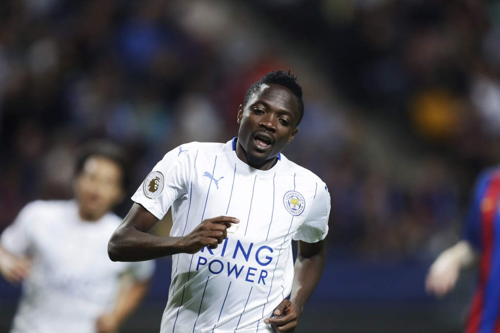 SOLNA, SWEDEN - AUGUST 03: Ahmed Musa of Leicester City FC during the Pre-Season Friendly between Leicester City FC and FC Barcelona at Friends arena on August 3, 2016 in Solna, Sweden. (Photo by Nils Petter Nilsson/Ombrello/Getty Images)
