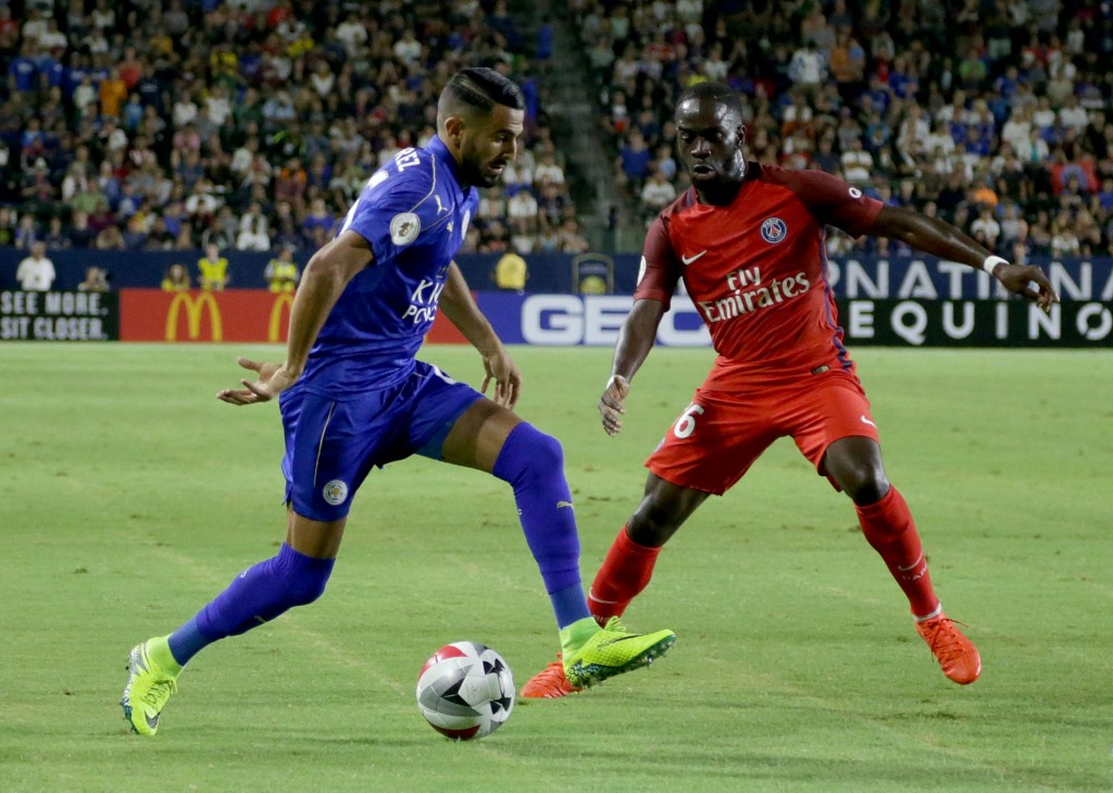 CARSON, CA - JULY 30: Riyad Mahrez #26 of Leicester City is defended by Jonathan Ikone #36 of Paris Saint-Germain in the first half during the 2016 International Champions Cup at StubHub Center on July 30, 2016 in Carson, California. (Photo by Jeff Gross/Getty Images)