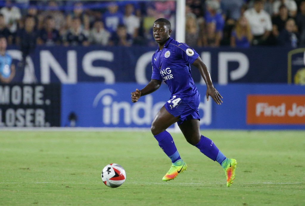 CARSON, CA - JULY 30: Nampalys Mendy #24 of Leicester City in action against Paris Saint-Germain during the 2016 International Champions Cup at StubHub Center on July 30, 2016 in Carson, California. (Photo by Jeff Gross/Getty Images)