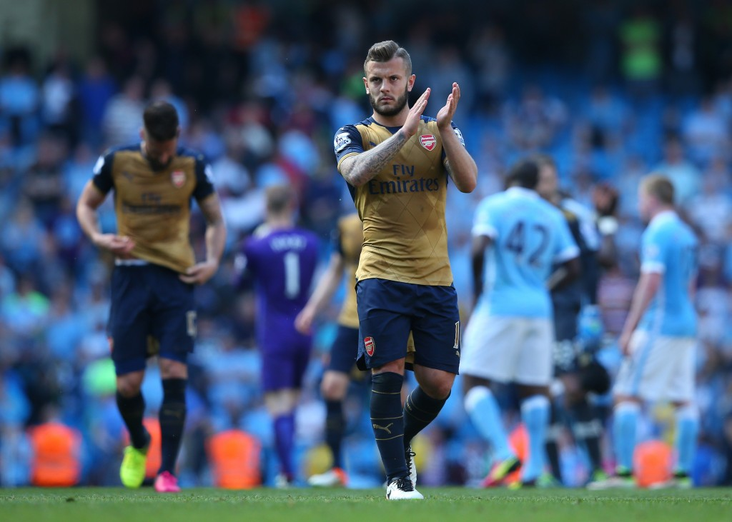 Jack Wilshere of Arsenal applauds the travelling fans following the 2-2 draw during the Barclays Premier League match between Manchester City and Arsenal at the Etihad Stadium on May 8, 2016 in Manchester, England. (Photo by Alex Livesey/Getty Images)