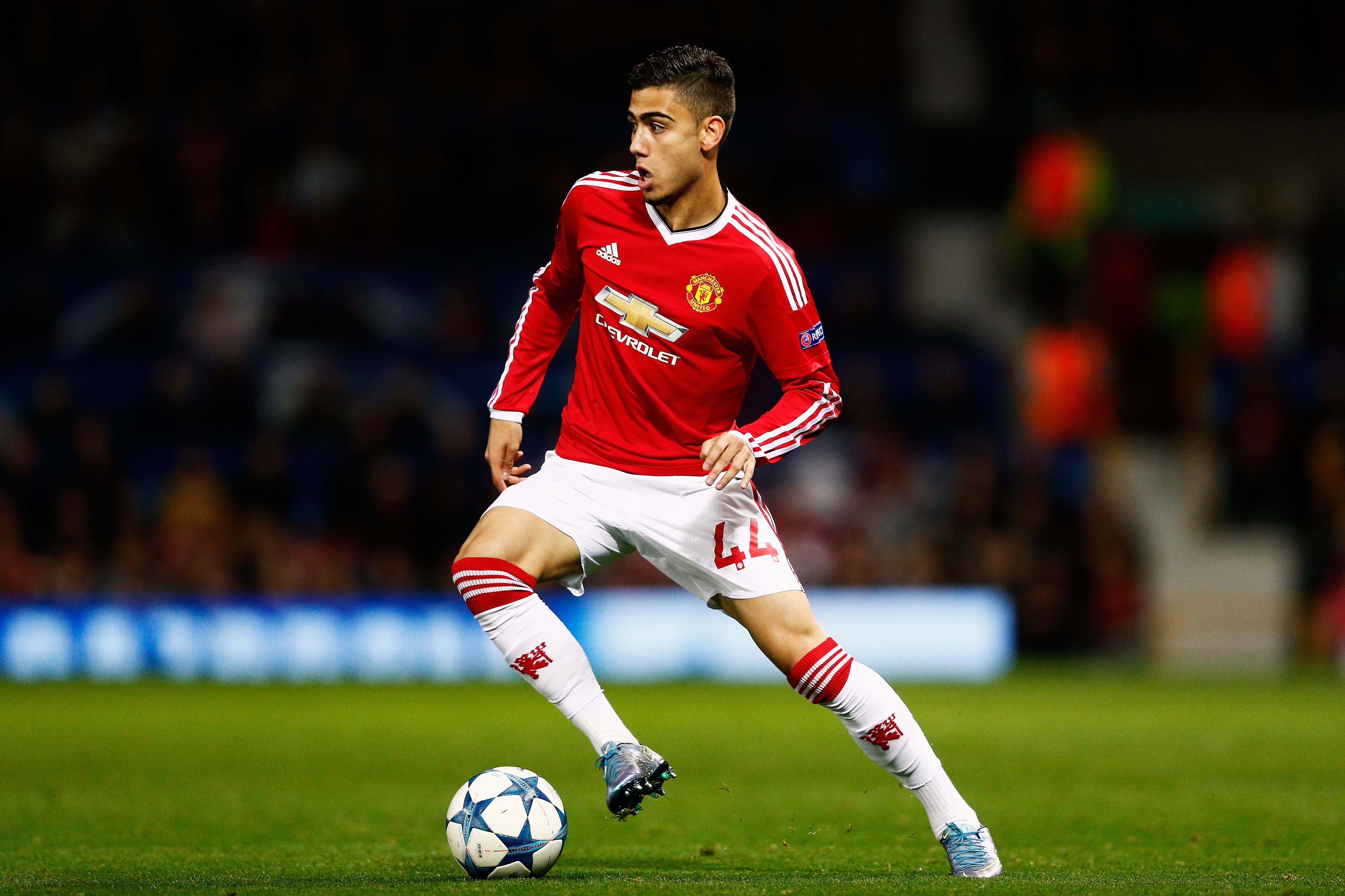 MANCHESTER, ENGLAND - SEPTEMBER 30: Andreas Pereira of Manchester United in action during the UEFA Champions League Group B match between Manchester United FC and VfL Wolfsburg at Old Trafford on September 30, 2015 in Manchester, United Kingdom. (Photo by Dean Mouhtaropoulos/Getty Images)