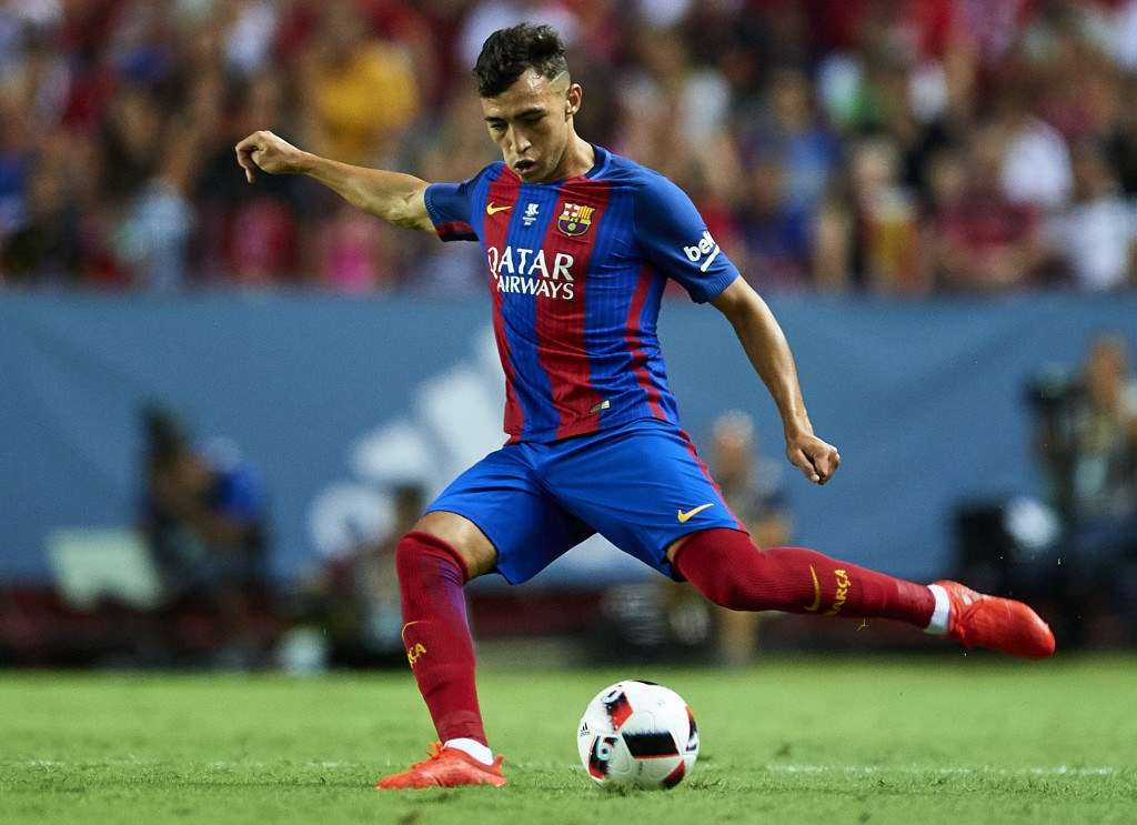 SEVILLE, SPAIN - AUGUST 14: Munir El Haddadi of FC Barcelona in action during the match between Sevilla FC vs FC Barcelona as part of the Spanish Super Cup Final 1st Leg at Estadio Ramon Sanchez Pizjuan on August 14, 2016 in Seville, Spain. (Photo by Aitor Alcalde/Getty Images)