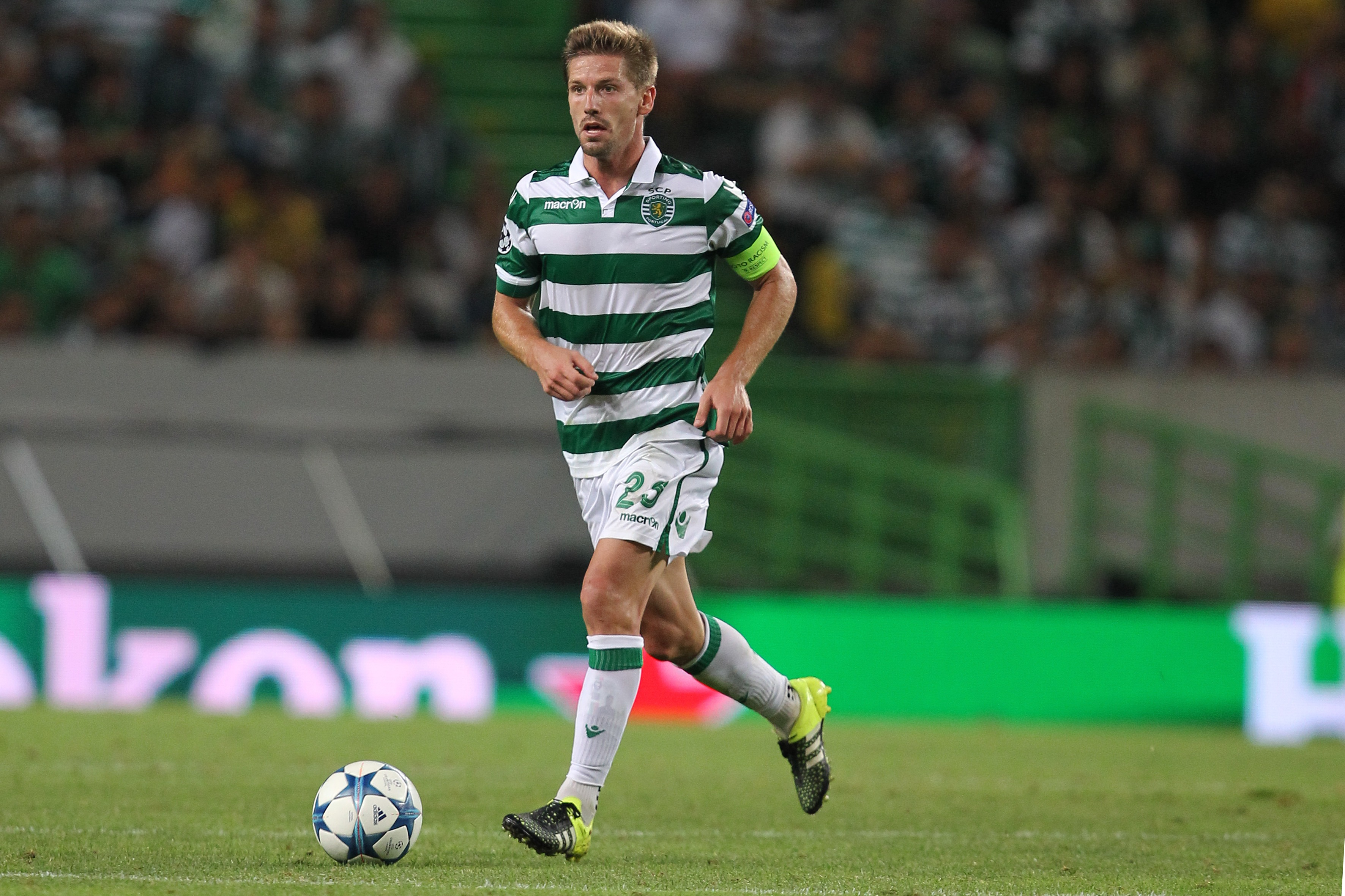 LISBON, PORTUGAL - AUGUST 18: Sporting's midfielder Adrien Silva during the UEFA Champions League qualifying round play-off first leg match between Sporting CP and CSKA Moscow at Estadio Jose Alvalade on August 18, 2015 in Lisbon, Portugal. (Photo by Carlos Rodrigues/Getty Images)