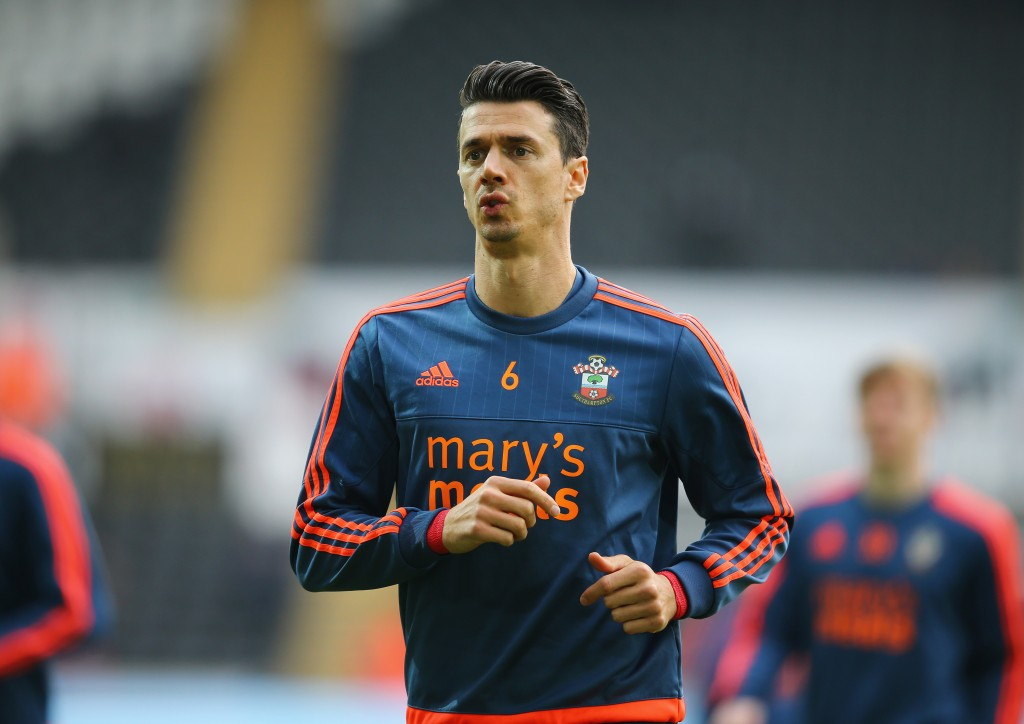 SWANSEA, WALES - FEBRUARY 13: Jose Fonte of Southampton warms up prior to the Barclays Premier League match between Swansea City and Southampton at Liberty Stadium on February 13, 2016 in Swansea, Wales. (Photo by Richard Heathcote/Getty Images)
