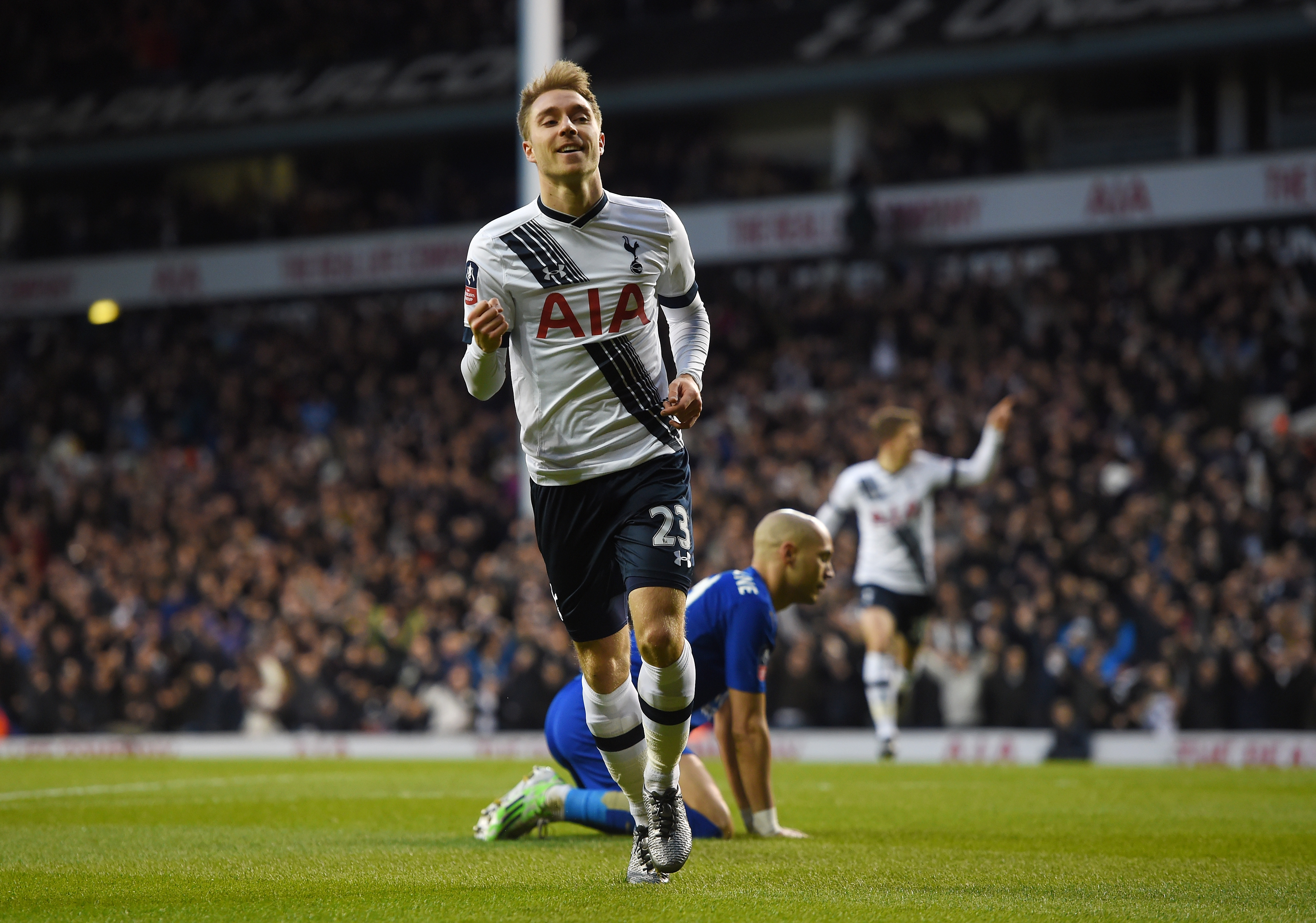 LONDON, ENGLAND - JANUARY 10: Christian Eriksen of Spurs celebrates after scoring the opening goal during The Emirates FA Cup third round match between Tottenham Hotspur and Leicester City at White Hart Lane on January 10, 2016 in London, England. (Photo by Michael Regan/Getty Images)