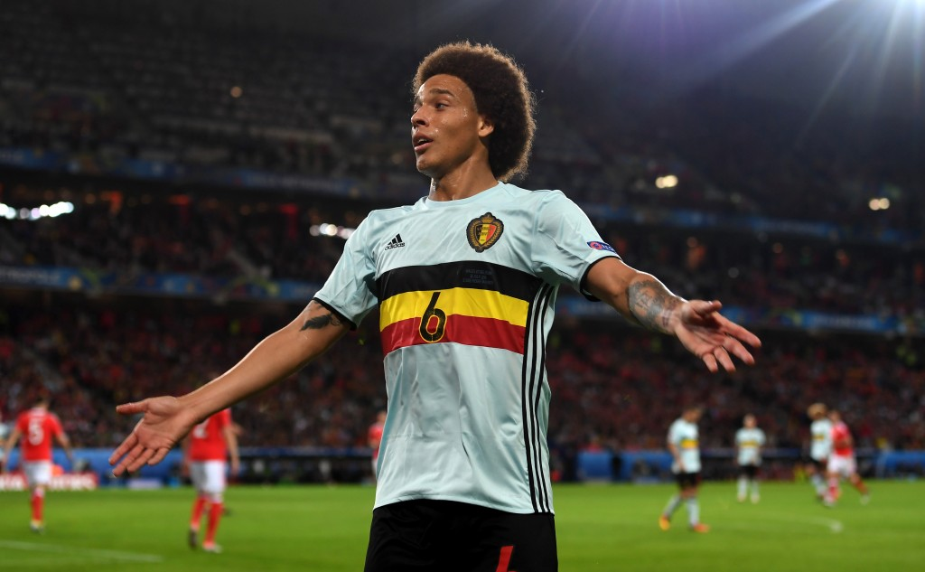 LILLE, FRANCE - JULY 01: Axel Witsel of Belgium gestures action during the UEFA EURO 2016 quarter final match between Wales and Belgium at Stade Pierre-Mauroy on July 1, 2016 in Lille, France. (Photo by Michael Regan/Getty Images)