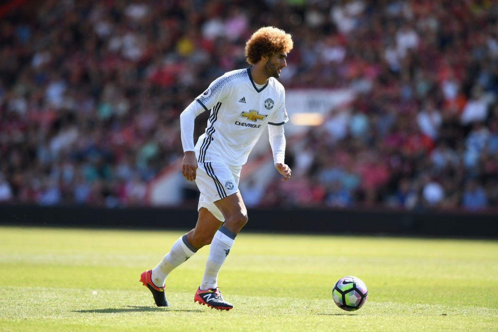 BOURNEMOUTH, ENGLAND - AUGUST 14: Marouane Fellaini of Manchester United in action during the Premier League match between AFC Bournemouth and Manchester United at Vitality Stadium on August 14, 2016 in Bournemouth, England. (Photo by Stu Forster/Getty Images)