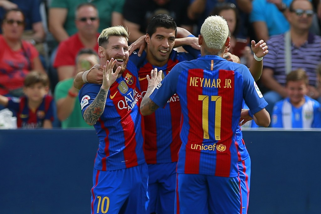 The terrific trio could be set to put on another show as Barcelona host Guardiola's Manchester City. (Picture Courtesy - AFP/Getty Images)