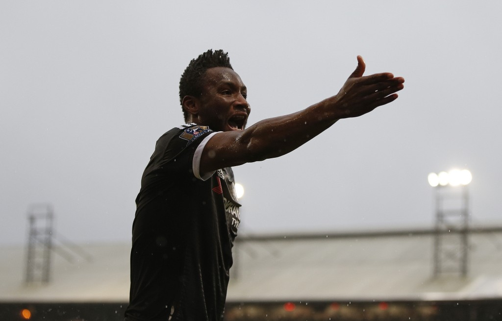 Chelsea's Nigerian midfielder John Obi Mikel gestures during the English Premier League football match between Crystal Palace and Chelsea at Selhurst Park in south London on January 3, 2016. AFP PHOTO / ADRIAN DENNIS RESTRICTED TO EDITORIAL USE. NO USE WITH UNAUTHORIZED AUDIO, VIDEO, DATA, FIXTURE LISTS, CLUB/LEAGUE LOGOS OR 'LIVE' SERVICES. ONLINE IN-MATCH USE LIMITED TO 75 IMAGES, NO VIDEO EMULATION. NO USE IN BETTING, GAMES OR SINGLE CLUB/LEAGUE/PLAYER PUBLICATIONS. / AFP / ADRIAN DENNIS (Photo credit should read ADRIAN DENNIS/AFP/Getty Images)