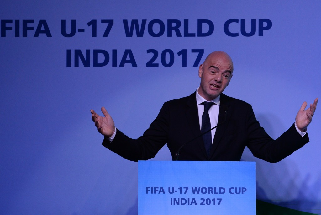 FIFA President Gianni Infantino speaks at an event to unveil the logo for the FIFA U-17 World Cup India 2017 in Panjim on September 27, 2016. Infantino, who was in Goa to attend the Asian Football Confederation (AFC) Extraordinary Congress, also unveiled the logo for the FIFA U-17 World Cup India 2017. / AFP / INDRANIL MUKHERJEE (Photo credit should read INDRANIL MUKHERJEE/AFP/Getty Images)