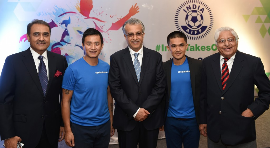 President of the All India Football Federation Praful Patel (L), former national team captain Baichung Bhutia (2L), the President of the Asian Football Confederation Shaikh Salman (C), Indian football team captain Sunil Chhetri (2R) and and former national team captain Chunni Goswami take part in the launch of the FIFA Under-17 World Cup in New Delhi on November 28, 2015. AFP PHOTO / SAJJAD HUSSAIN / AFP / SAJJAD HUSSAIN (Photo credit should read SAJJAD HUSSAIN/AFP/Getty Images)