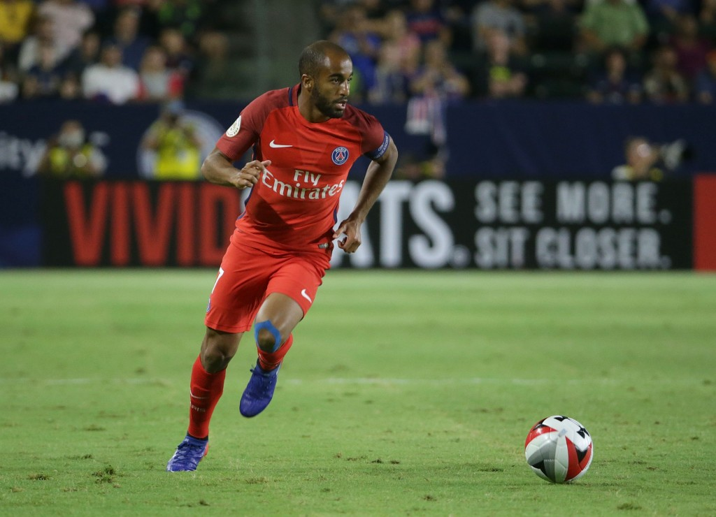 CARSON, CA - JULY 30: Lucas #7 of Paris Saint-Germain in action against Leicester City during the 2016 International Champions Cup at StubHub Center on July 30, 2016 in Carson, California. (Photo by Jeff Gross/Getty Images)
