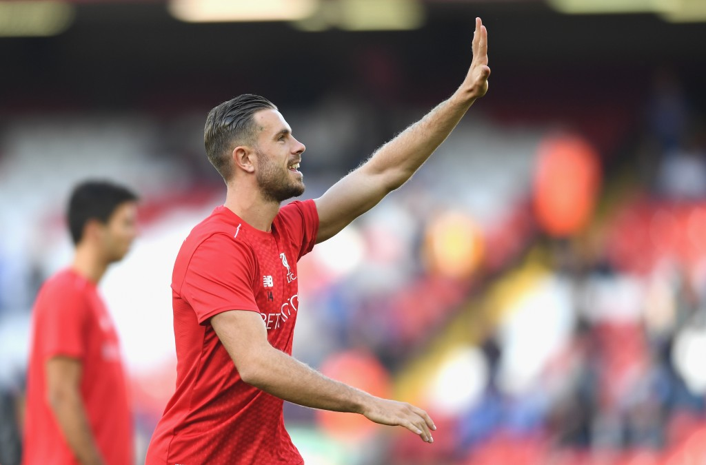 LIVERPOOL, ENGLAND - SEPTEMBER 10: Jordan Henderson of Liverpool waves to fans during the warm up during the Premier League match between Liverpool and Leicester City at Anfield on September 10, 2016 in Liverpool, England. (Photo by Michael Regan/Getty Images)