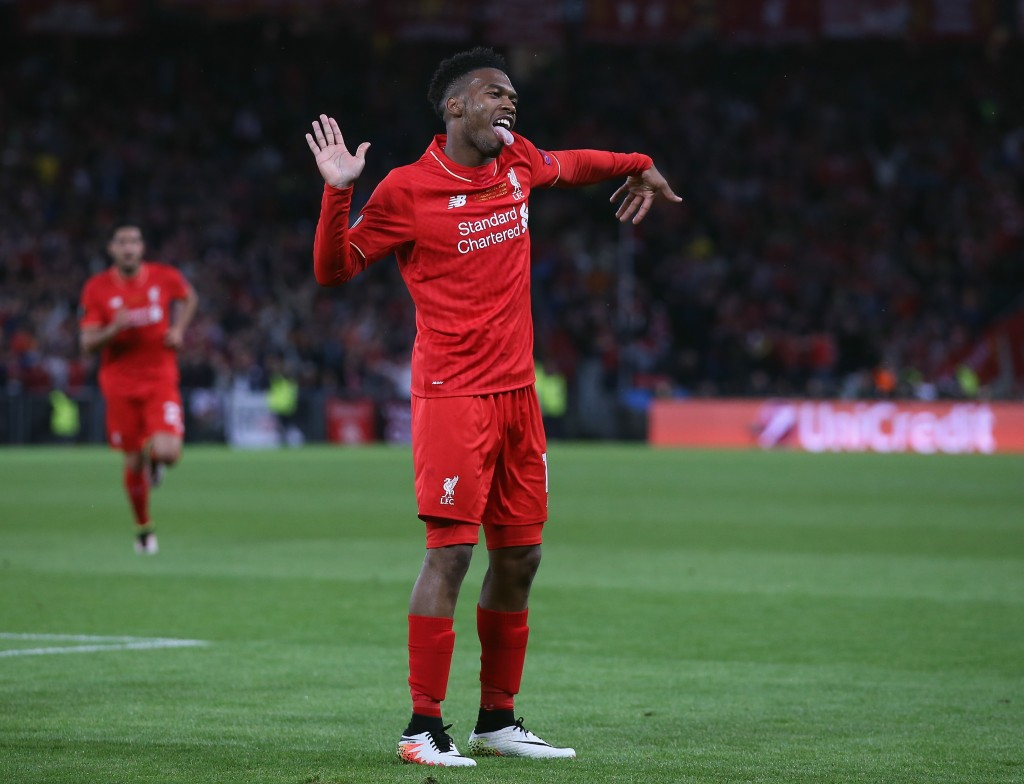 BASEL, SWITZERLAND - MAY 18: Daniel Sturridge of Liverpool celebrates scoring his team's first goal during the UEFA Europa League Final match between Liverpool and Sevilla at St. Jakob-Park on May 18, 2016 in Basel, Switzerland. (Photo courtesy Lars Baron/Getty Images)