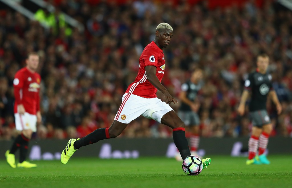 MANCHESTER, ENGLAND - AUGUST 19: Paul Pogba of Manchester United in action during the Premier League match between Manchester United and Southampton at Old Trafford on August 19, 2016 in Manchester, England. (Photo by Michael Steele/Getty Images)
