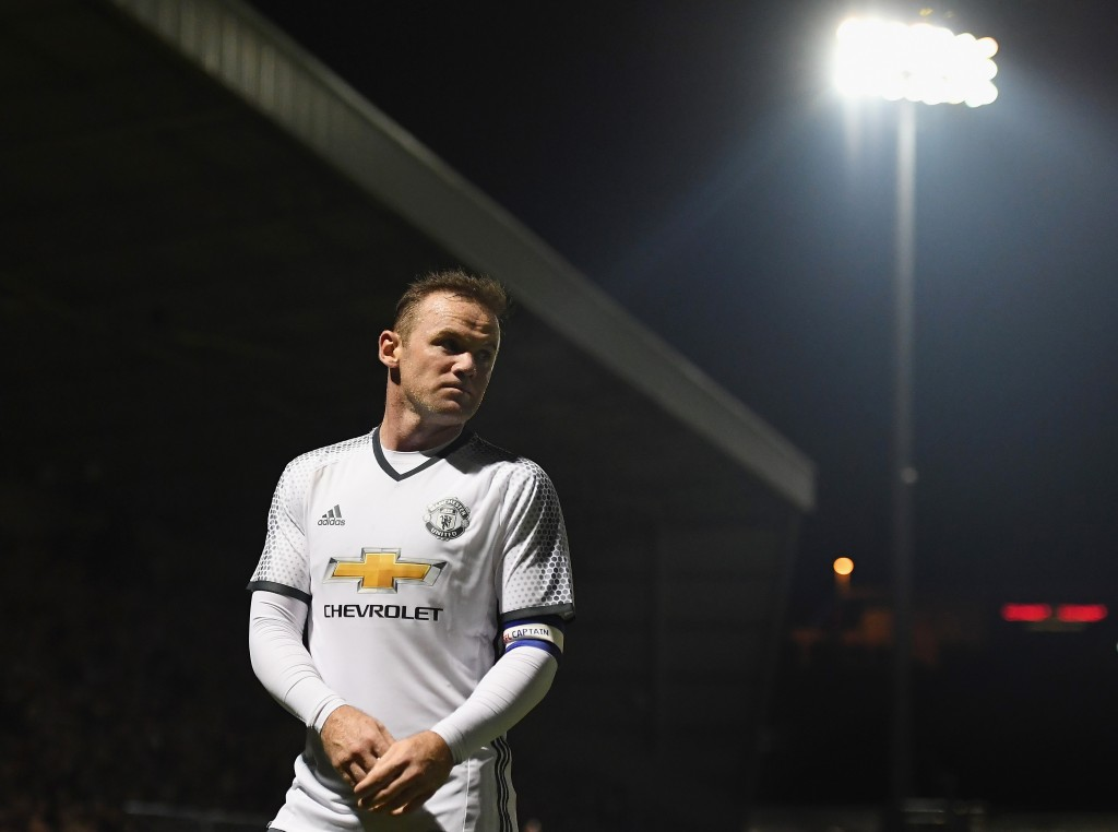 NORTHAMPTON, ENGLAND - SEPTEMBER 21: Wayne Rooney of Manchester United looks on during the EFL Cup Third Round match between Northampton Town and Manchester United at Sixfields on September 21, 2016 in Northampton, England. (Photo by Laurence Griffiths/Getty Images)