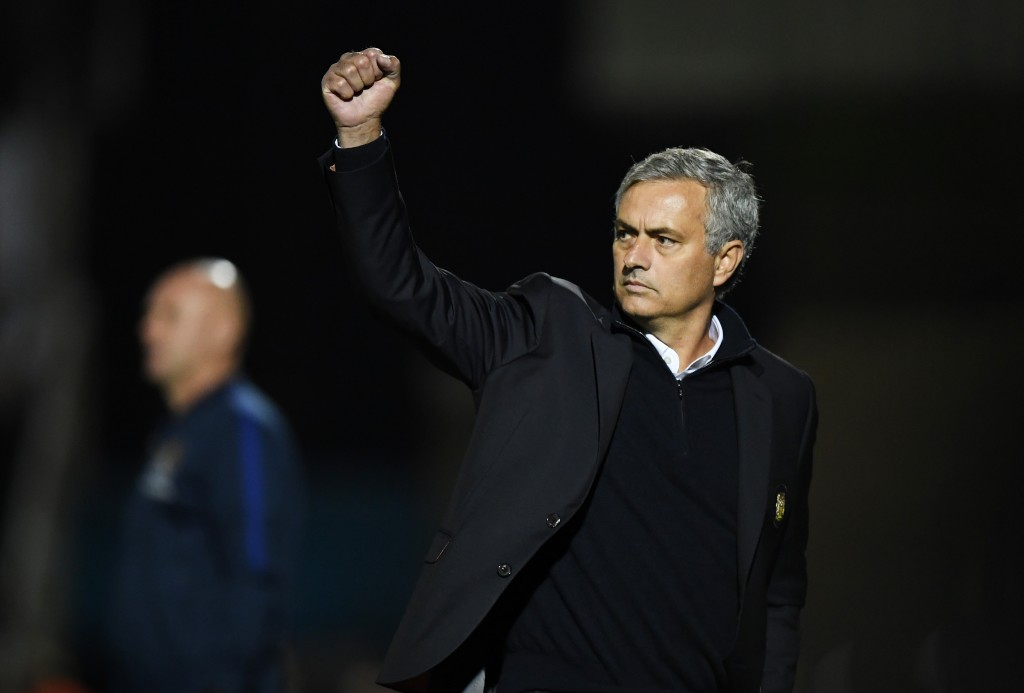 NORTHAMPTON, ENGLAND - SEPTEMBER 21: Jose Mourinho, Manager of Manchester United celebrates during the EFL Cup Third Round match between Northampton Town and Manchester United at Sixfields on September 21, 2016 in Northampton, England. (Photo by Shaun Botterill/Getty Images)