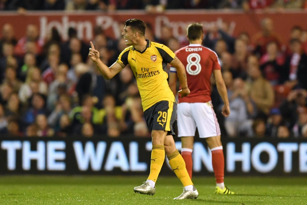 NOTTINGHAM, ENGLAND - SEPTEMBER 20: Granit Xhaka of Arsenal celebrates scoring the opening goal during the EFL Cup Third Round match between Nottingham Forest and Arsenal at City Ground on September 20, 2016 in Nottingham, England. (Photo by Shaun Botterill/Getty Images)