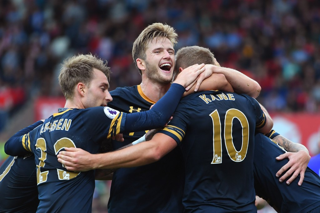 STOKE ON TRENT, ENGLAND - SEPTEMBER 10: Harry Kane of Tottenham Hotspur (R) celebrates scoring his sides first goal with Eric Dier of Tottenham Hotspur (L) during the Premier League match between Stoke City and Tottenham Hotspur at Britannia Stadium on September 10, 2016 in Stoke on Trent, England. (Photo by Laurence Griffiths/Getty Images)