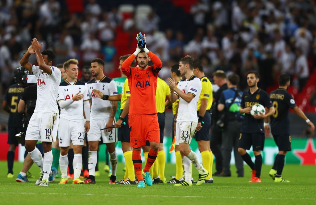 LONDON, ENGLAND - SEPTEMBER 14: Hugo Lloris of Tottenham Hotspur and his team-mates applaud fans during the UEFA Champions League match between Tottenham Hotspur FC and AS Monaco FC at Wembley Stadium on September 14, 2016 in London, England. (Photo by Clive Rose/Getty Images)