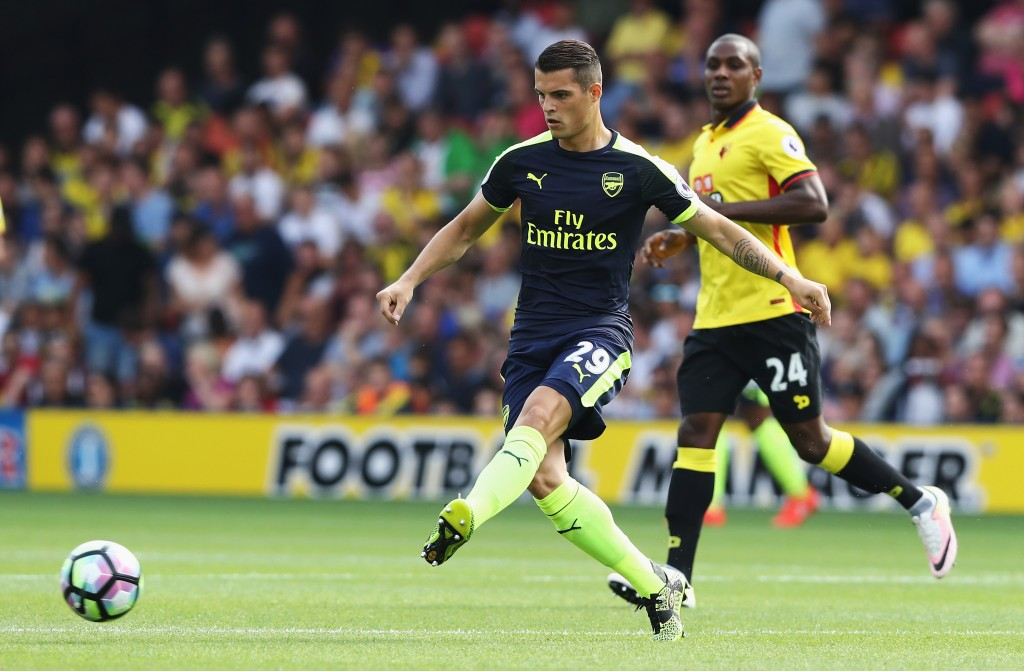 WATFORD, ENGLAND - AUGUST 27: Granit Xhaka of Arsenal in action during the Premier League match between Watford and Arsenal at Vicarage Road on August 27, 2016 in Watford, England. (Photo by David Rogers/Getty Images)
