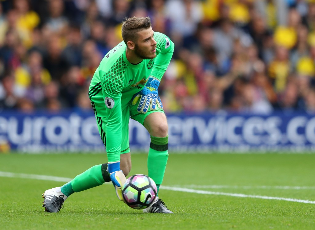 WATFORD, ENGLAND - SEPTEMBER 18: David De Gea of Manchester United in action during the Premier League match between Watford and Manchester United at Vicarage Road on September 18, 2016 in Watford, England. (Photo by Richard Heathcote/Getty Images)