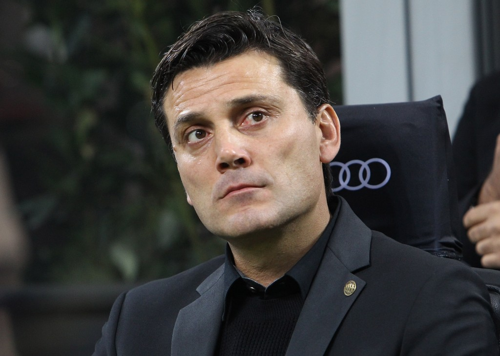 MILAN, ITALY - OCTOBER 22: AC Milan coach Vincenzo Montella looks on before the Serie A match between AC Milan and Juventus FC at Stadio Giuseppe Meazza on October 22, 2016 in Milan, Italy. (Photo by Marco Luzzani/Getty Images)