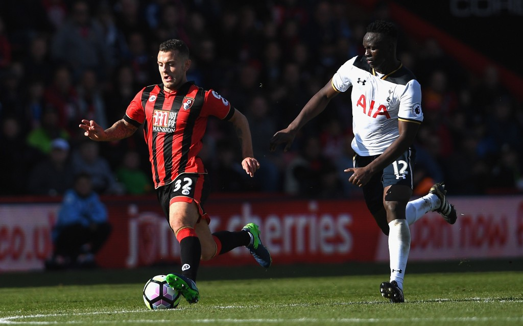 BOURNEMOUTH, ENGLAND - OCTOBER 22: Jack Wilshere of AFC Bournemouth and Victor Wanyama of Tottenham Hotspur compete for the ball during the Premier League match between AFC Bournemouth and Tottenham Hotspur at Vitality Stadium on October 22, 2016 in Bournemouth, England. (Photo by Mike Hewitt/Getty Images)