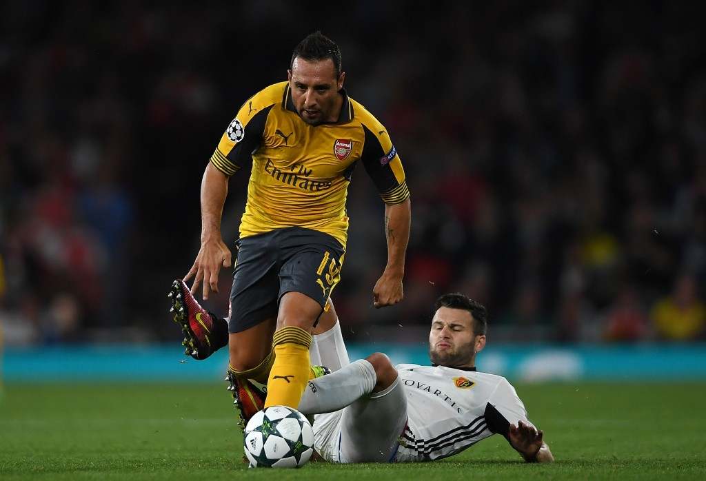 LONDON, ENGLAND - SEPTEMBER 28: Santi Cazorla of Arsenal in action during the UEFA Champions League Group A match between Arsenal FC and FC Basel 1893 at Emirates Stadium on September 28, 2016 in London, England. (Photo by Mike Hewitt/Getty Images)
