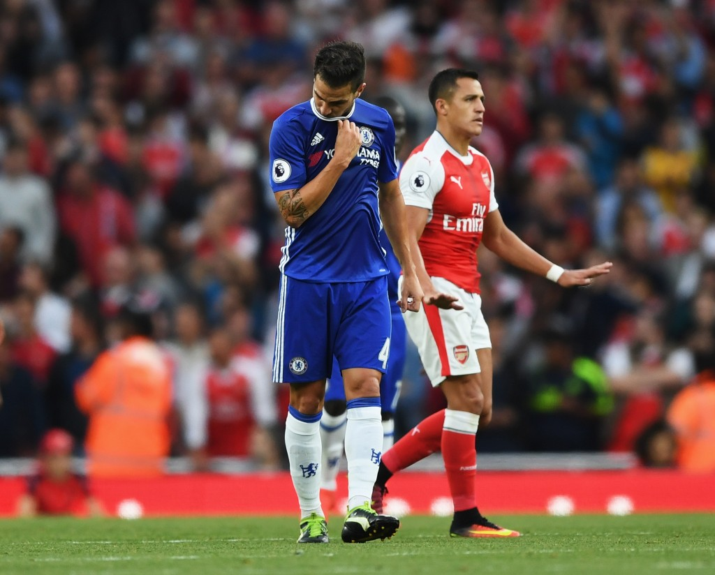 LONDON, ENGLAND - SEPTEMBER 24: Cesc Fabregas of Chelsea is dejected after Arsenal score during the Premier League match between Arsenal and Chelsea at the Emirates Stadium on September 24, 2016 in London, England. (Photo by Shaun Botterill/Getty Images)