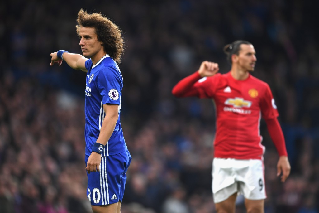 LONDON, ENGLAND - OCTOBER 23: David Luiz of Chelsea reacts during the Premier League match between Chelsea and Manchester United at Stamford Bridge on October 23, 2016 in London, England. (Photo by Shaun Botterill/Getty Images)