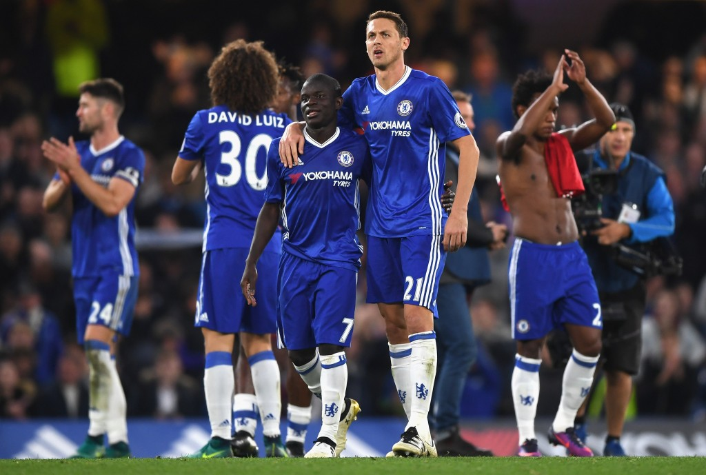 LONDON, ENGLAND - OCTOBER 23: N'Golo Kante of Chelsea and Nemanja Matic of Chelsea react after the full time whistle during the Premier League match between Chelsea and Manchester United at Stamford Bridge on October 23, 2016 in London, England. (Photo by Shaun Botterill/Getty Images)