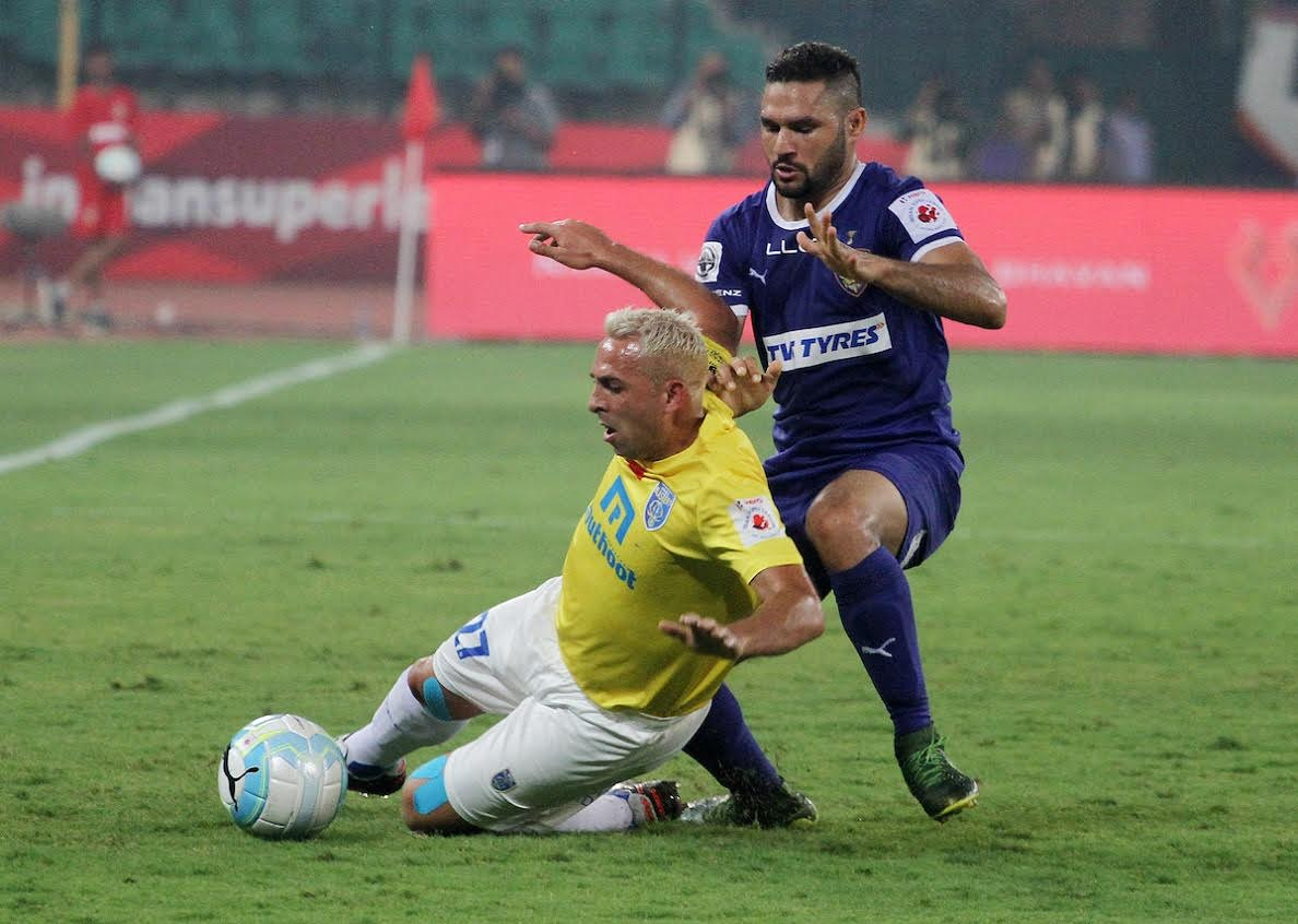 Michael Chopra of Kerala Blasters FC and Baljit Sahni of Chennaiyin FC in action during match 26 of the Indian Super League (ISL) season 3 between Chennaiyin FC and Kerala Blasters FC held at the Jawaharlal Nehru Stadium in Chennai, India on the 29th October 2016. Photo by Vipin Pawar / ISL / SPORTZPICS