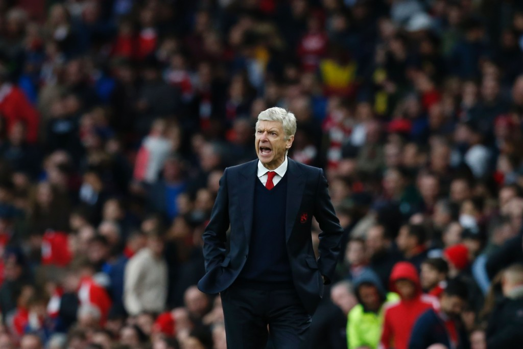 Arsenal's French manager Arsene Wenger gestures on the touchline during the English Premier League football match between Arsenal and Middlesbrough at the Emirates Stadium in London on October 22, 2016. / AFP / Ian KINGTON / RESTRICTED TO EDITORIAL USE. No use with unauthorized audio, video, data, fixture lists, club/league logos or 'live' services. Online in-match use limited to 75 images, no video emulation. No use in betting, games or single club/league/player publications. / (Photo credit should read IAN KINGTON/AFP/Getty Images)