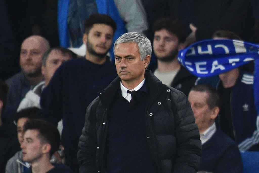 Manchester United's Portuguese manager Jose Mourinho looks on from the touchline during the English Premier League football match between Chelsea and Manchester United at Stamford Bridge in London on October 23, 2016. / AFP / GLYN KIRK / RESTRICTED TO EDITORIAL USE. No use with unauthorized audio, video, data, fixture lists, club/league logos or 'live' services. Online in-match use limited to 75 images, no video emulation. No use in betting, games or single club/league/player publications. / (Photo credit should read GLYN KIRK/AFP/Getty Images)
