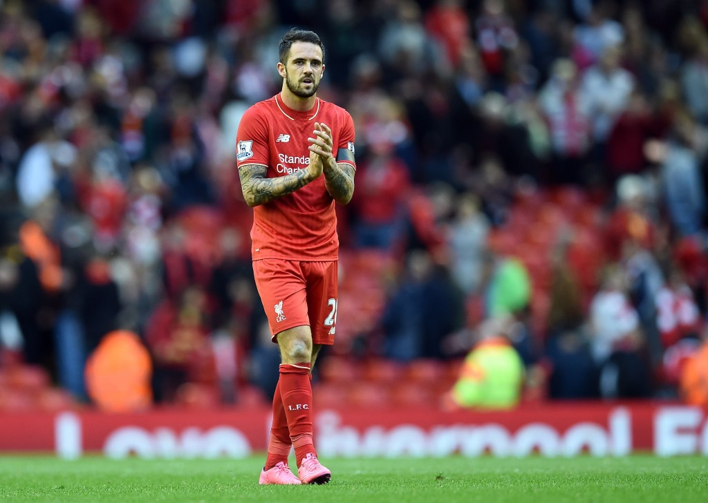 Liverpool's English striker Danny Ings applauds supporters after the English Premier League football match between Liverpool and Norwich City at the Anfield stadium in Liverpool, north-west England on September 20, 2015. AFP PHOTO / PAUL ELLIS RESTRICTED TO EDITORIAL USE. No use with unauthorized audio, video, data, fixture lists, club/league logos or 'live' services. Online in-match use limited to 75 images, no video emulation. No use in betting, games or single club/league/player publications. (Photo credit should read PAUL ELLIS/AFP/Getty Images)